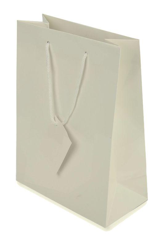 Dárková papírová taška bílá 16x23x10 cm