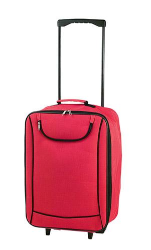 Soch červený kufřík na kolečkách