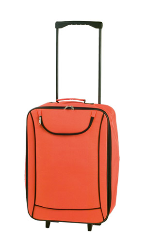 Soch oranžový kufřík na kolečkách s potiskem
