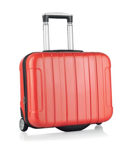 Sucan červený kufr na kolečkách