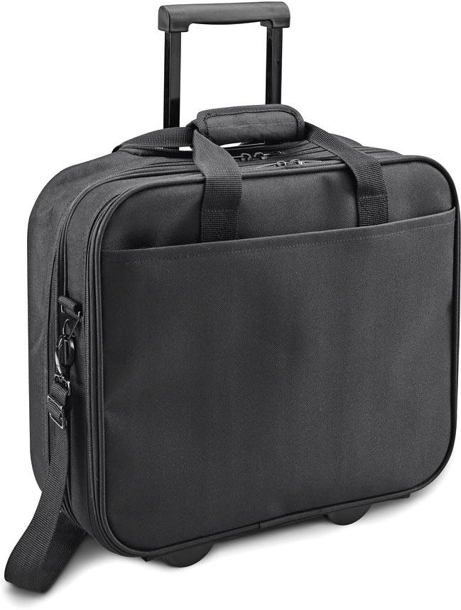 Kufr na kolečkách pro laptop černý s potiskem