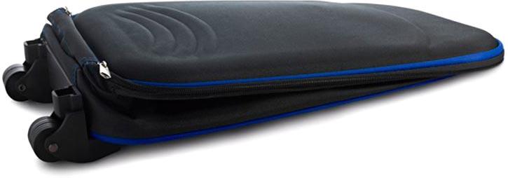 Skládací kufr na kolečkách modrý