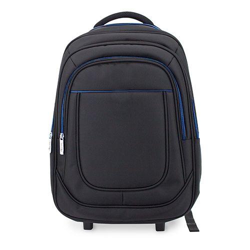 Cestovní batoh s kolečky černo-modrý s potiskem