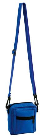 Modrá taška přes rameno zapínatelná s mnoha oddíly