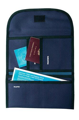 Cestovní modrá kabelka na dokumenty