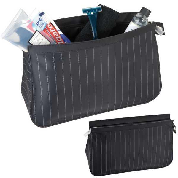 Černá toaletní taška s proužkovaným vzorem