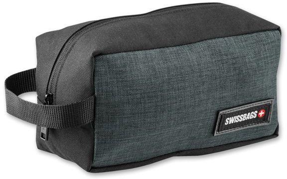 KABIRA polyesterová kosmetická taška, 600D, SWISSBAGS, tmavě šedý melír