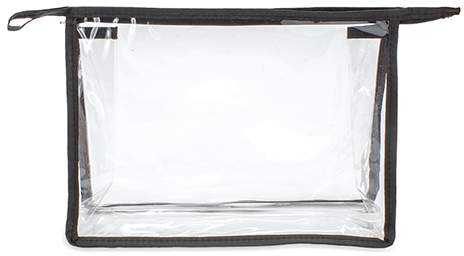 Transparentní kosmetická taštička s barevnými hranami, černá