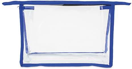 Transparentní kosmetická taštička s barevnými hranami, modrá