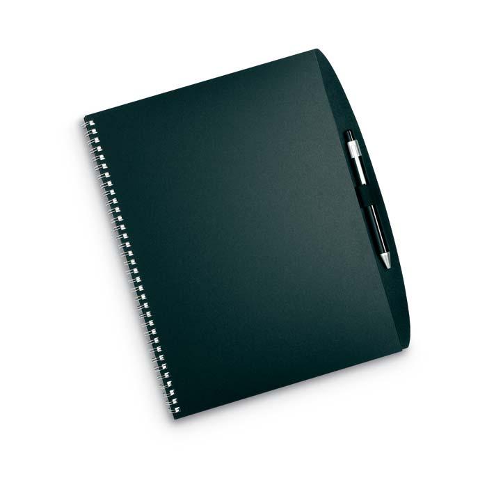 Černé desky s poznámkovým blokem