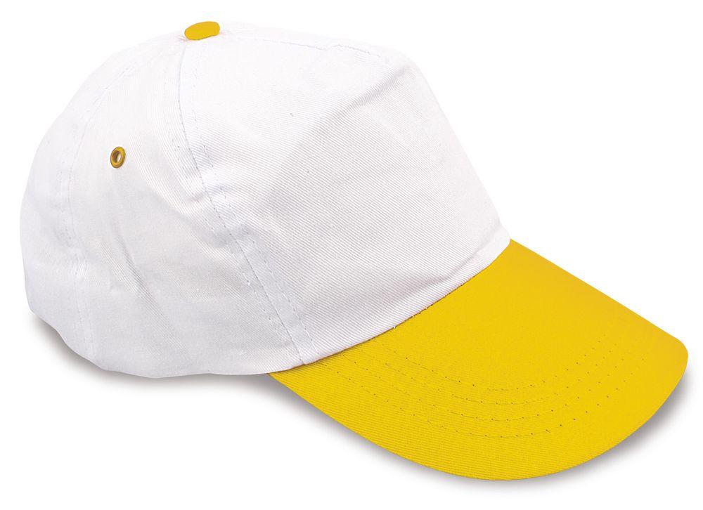 Dvoubarevná pětipanelová kšiltovka bílo-žlutá
