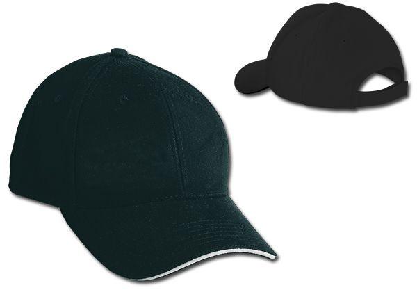 HEAVY bavlněná baseballová čepice, suchý zip, 6 panelů, černá
