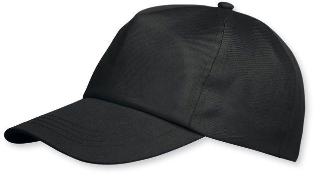 SHERLOCK nylonová baseballová čepice, plastová spona, 5 panelů, černá