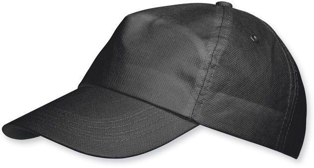 POMPO baseballová čepice z netkané text. (75 g/m2), suchý zip, 5 panelů, černá