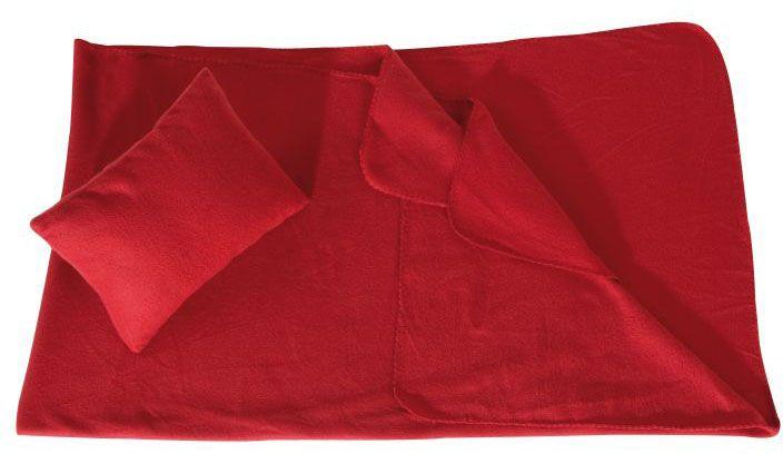 Velká červená deka s polštářem