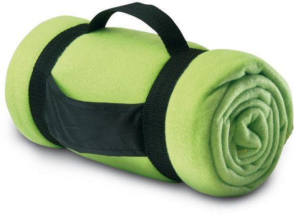 Fleecová deka s popruhy limetková