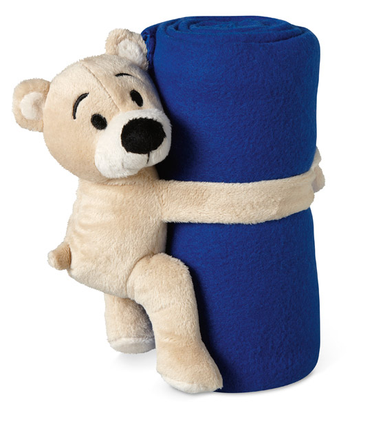Modrá fleecová deka s medvídkem Manta