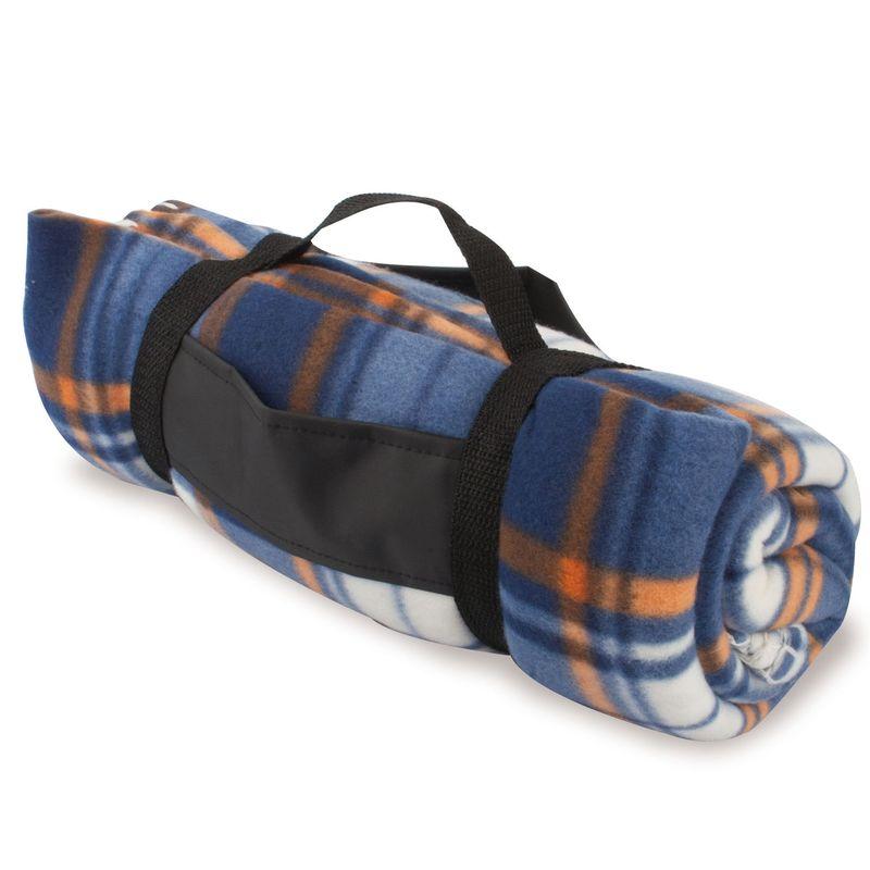Pikniková deka kostkovaná-modro-oranžovo-bílá