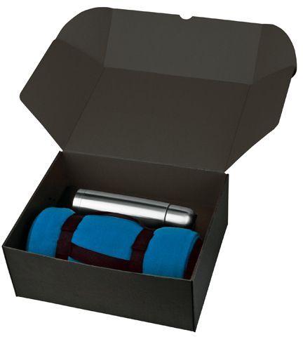 THERMI sada nerezové termosky a fleecové deky v dárkové krabici, tmavě modrá