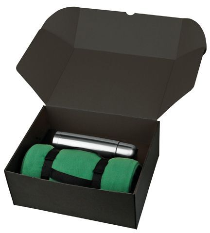 THERMI sada nerezové termosky a fleecové deky v dárkové krabici, světle zelená