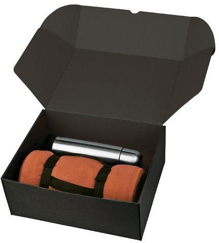THERMI sada nerezové termosky a fleecové deky v dárkové krabici, oranžová