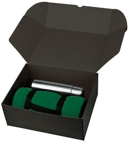 THERMI sada nerezové termosky a fleecové deky v dárkové krabici, tmavě zelená