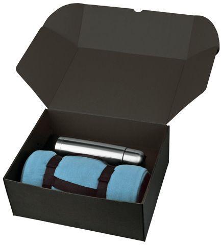THERMI sada nerezové termosky a fleecové deky v dárkové krabici, světle modrá