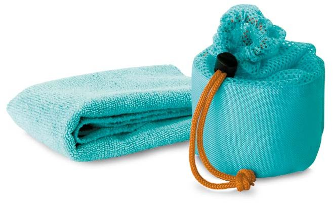 Modrý sportovní ručník v potahu