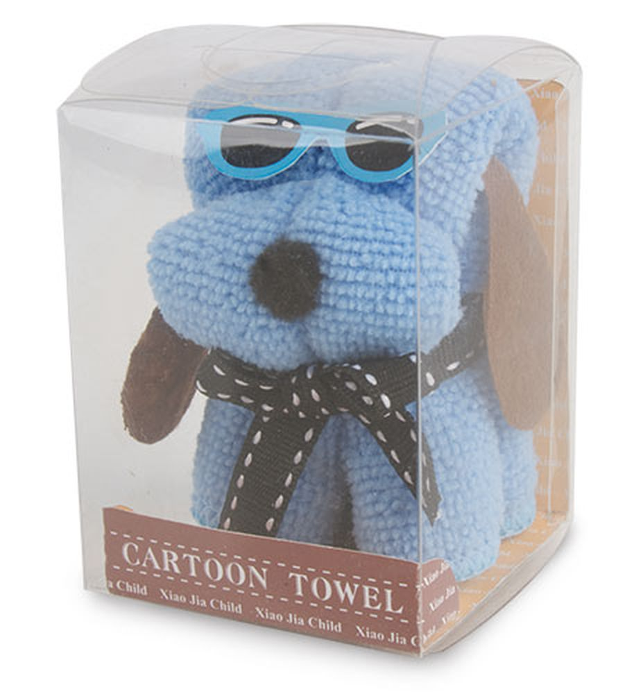 Ručník složený do tvaru pejska modrý