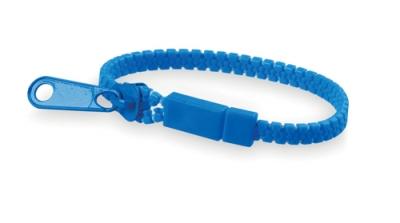 Náramek na zip modrý