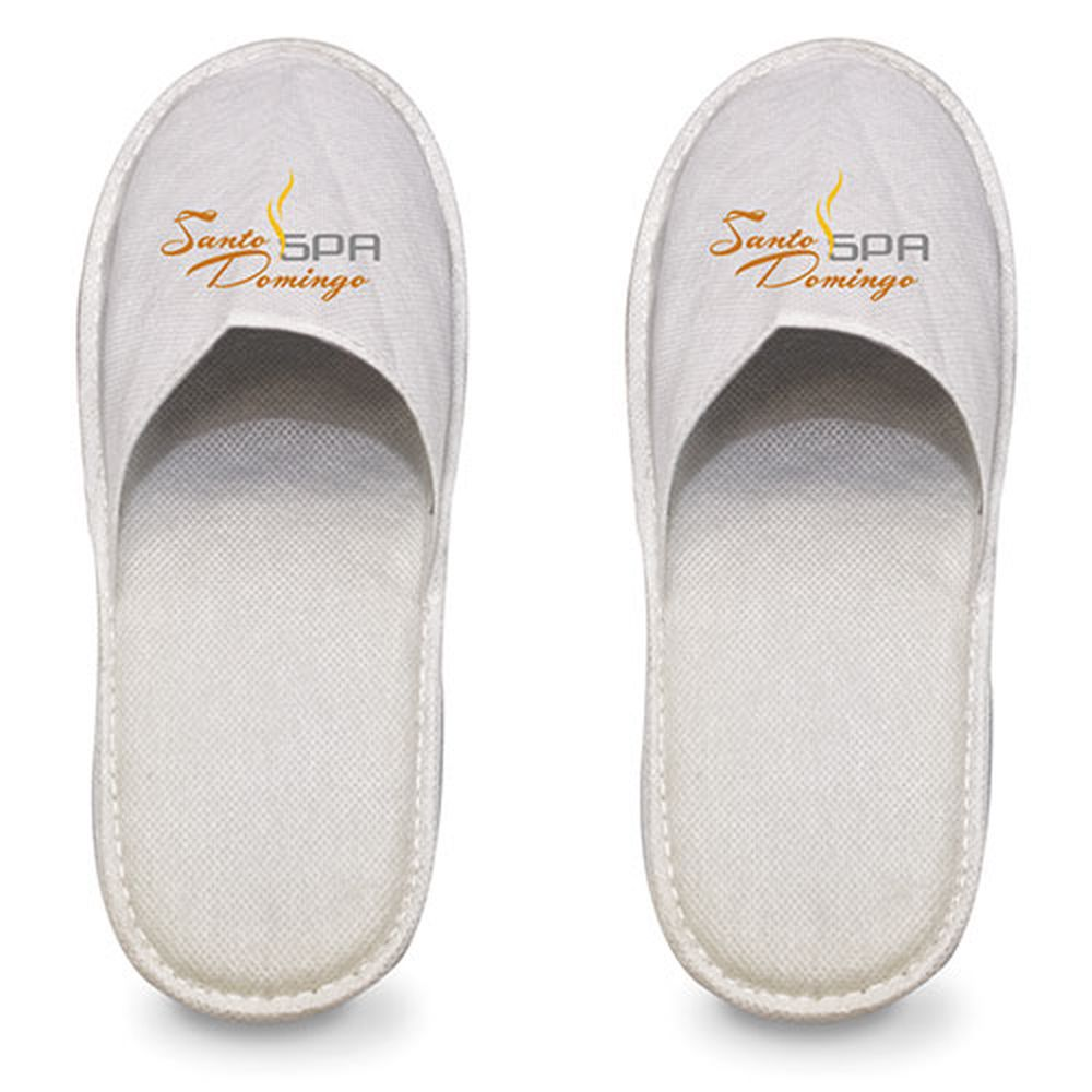 Pantofle z netkané látky bílé