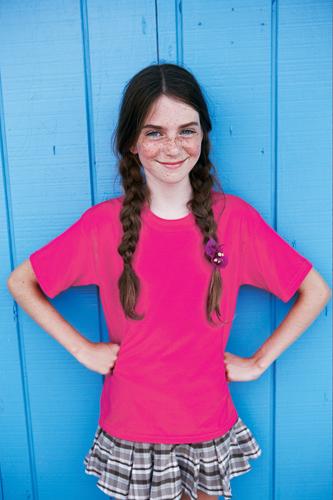 Bavlněné dětské tričko 185 g transparentní růžové