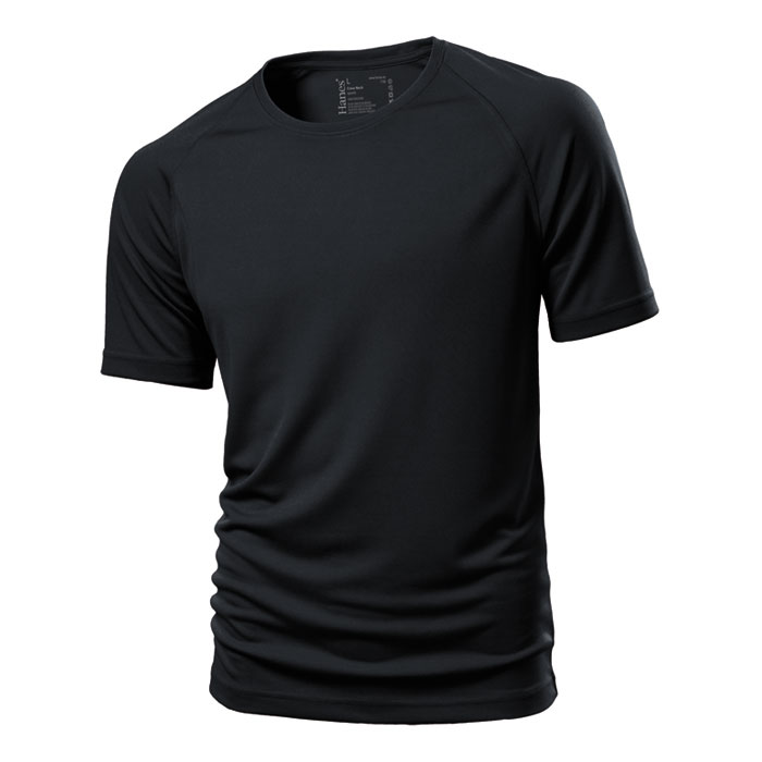 Unisex černé sportovní tričko Hanes 145