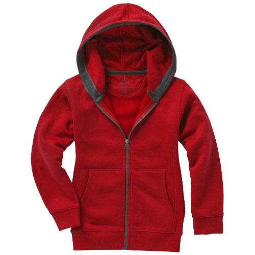 Arora dětská červená mikina s kapucí a dlouhým zipem