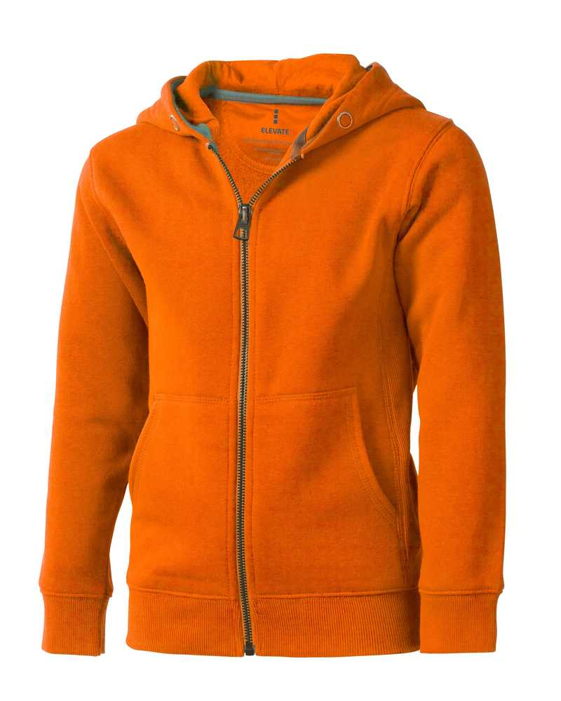 Arora dětská oranžová mikina s kapucí a dlouhým zipem