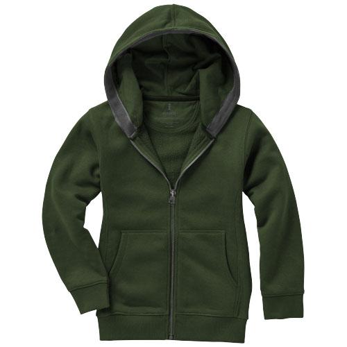 Arora dětská tmavě zelená mikina s kapucí a dlouhým zipem