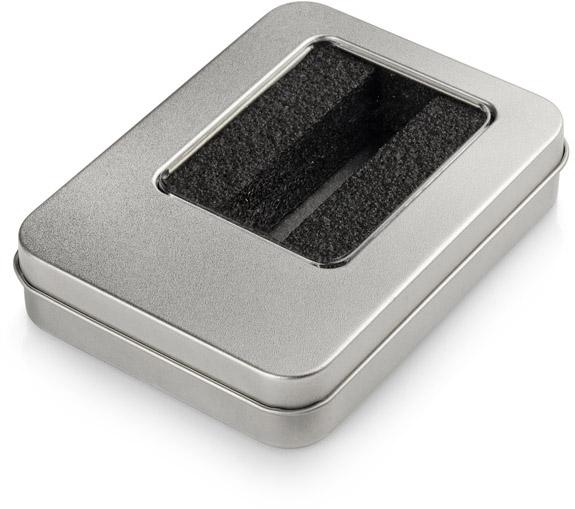 Velká kovová krabička s vložkou na větší flash disk