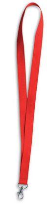 Červená šnůrka na krk s kovovou karabinou
