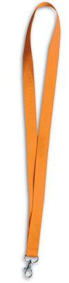Oranžová šnůrka na krk s karabinou
