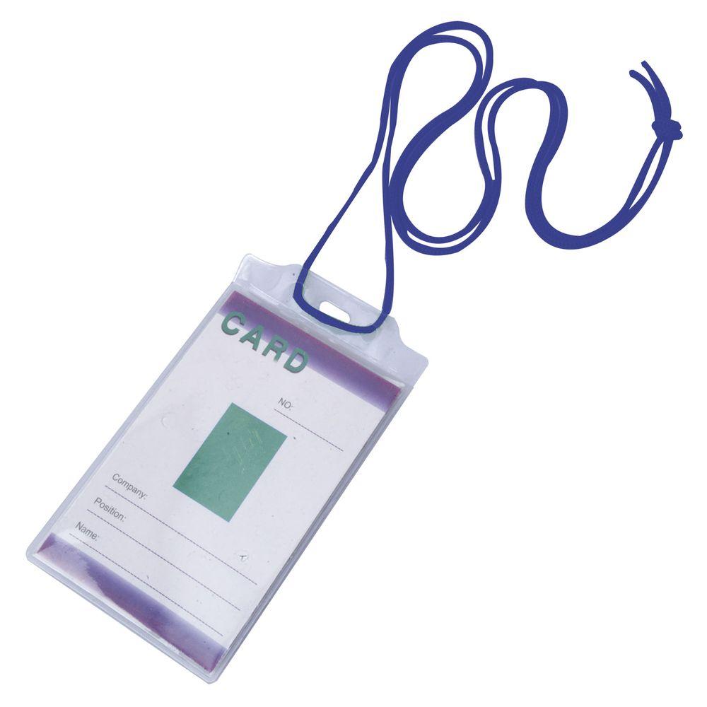 Šňůrka na krk s obal na identifikační kartu modrá s potiskem