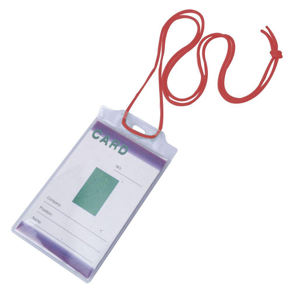 Šňůrka na krk s obal na identifikační kartu červená