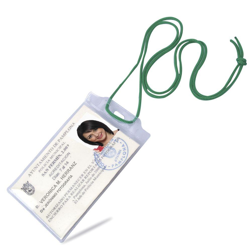 Šňůrka na krk s obal na identifikační kartu zelená