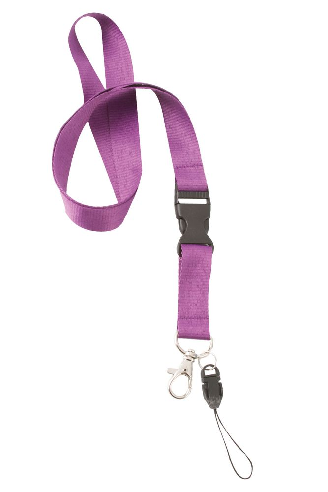 Dvojdílná šňůrka na krk fialová s potiskem