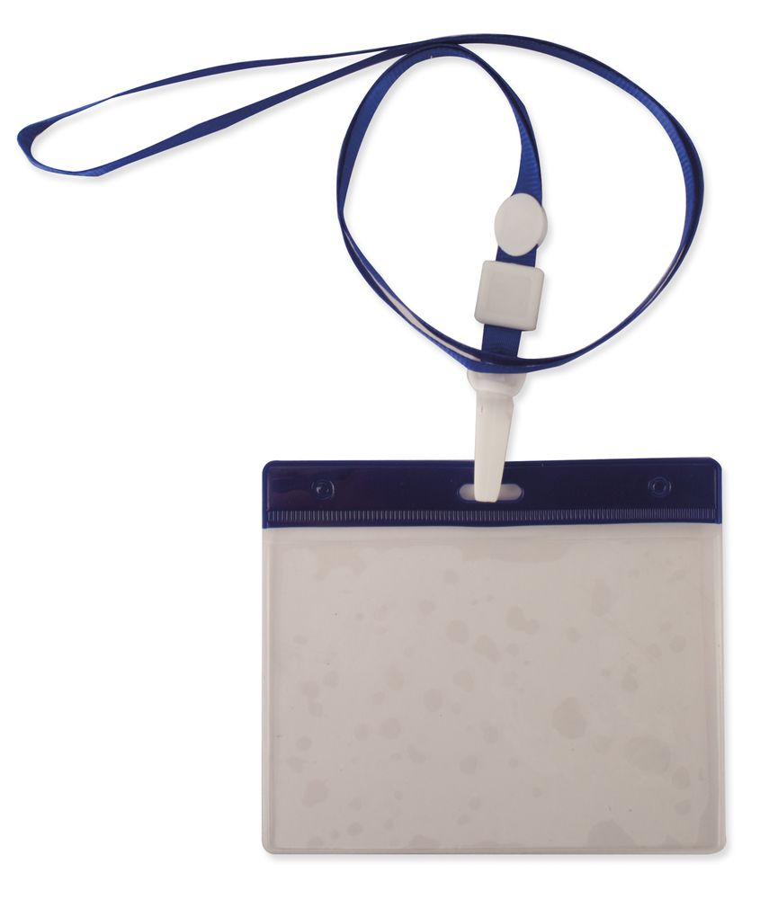 Šnůrka na krk s obalem na ID kartu modrá