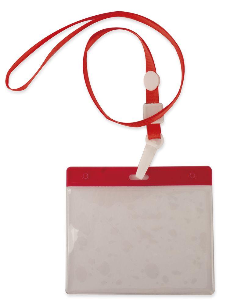 Šnůrka na krk s obalem na ID kartu červená