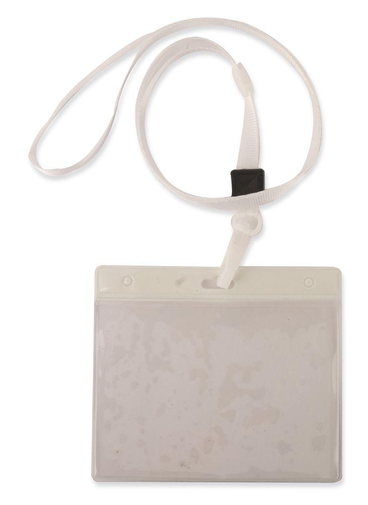 Šnůrka na krk s obalem na ID kartu bílá s potiskem