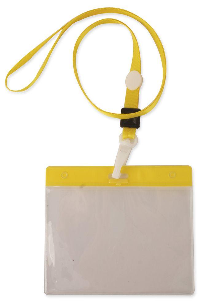 Šnůrka na krk s obalem na ID kartu žlutá