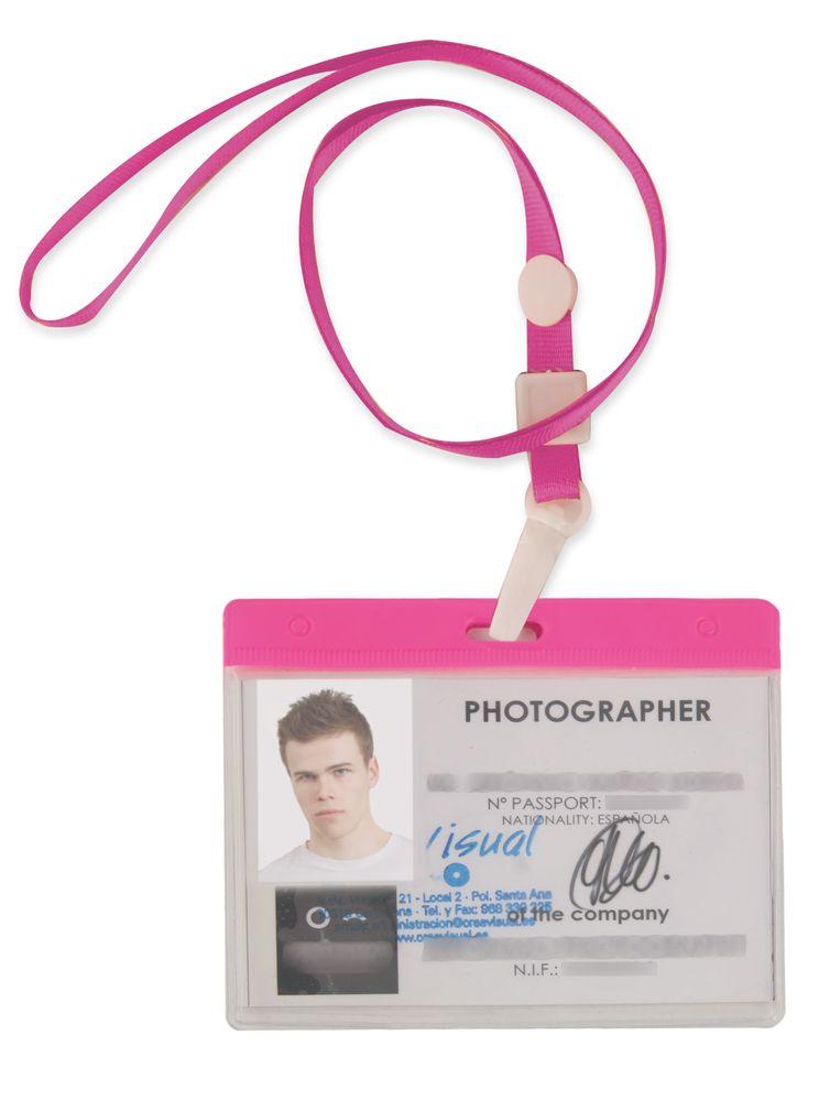 Šnůrka na krk s obalem na ID kartu růžová