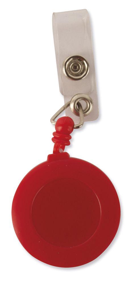 Kulatý držák na identifikační kartu červený s potiskem