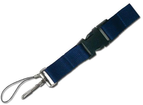 IDA textilní šňůrka na krk s karabinou, tmavě modrá
